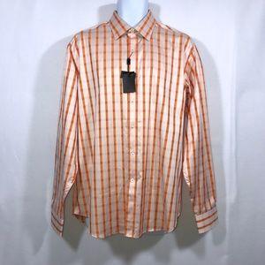 NWT Bugatchi Uomo Checkered Dress Shirt Large 16.5